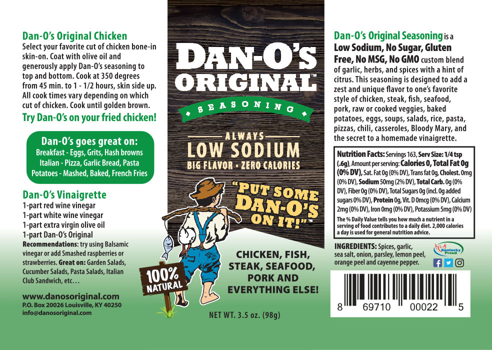 Dan-O's original seasoning label and nutrition facts