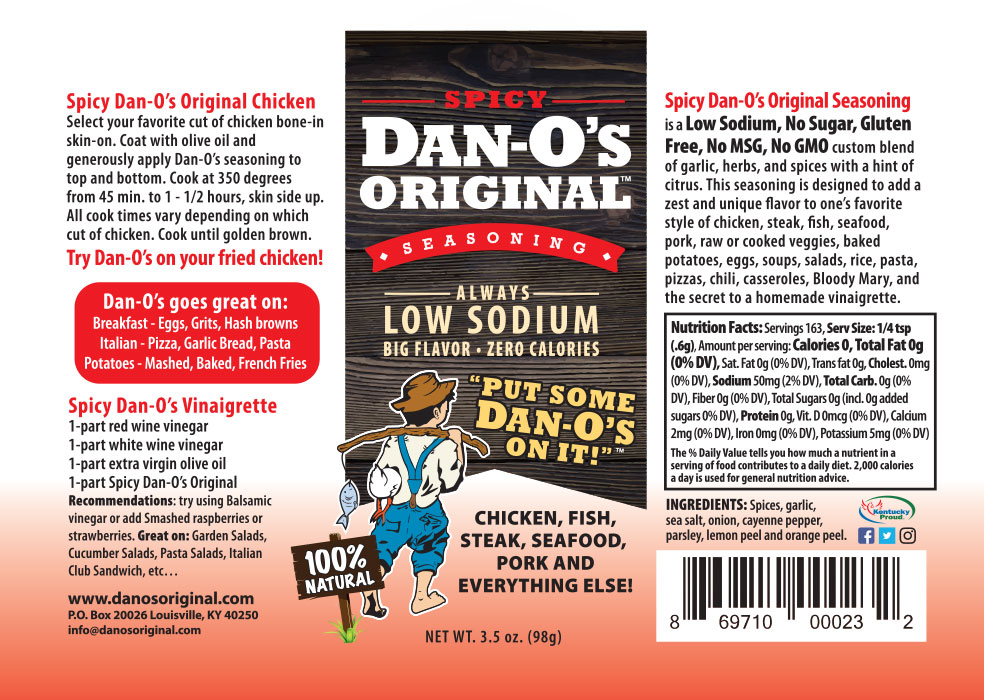 Dan-O's Spicy seasoning label and nutrition facts