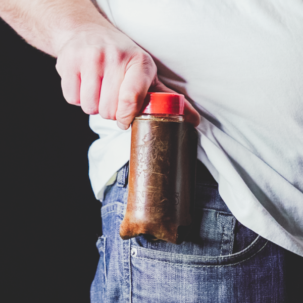 Dan-O's Seasoning Bottle Holster attached at hip