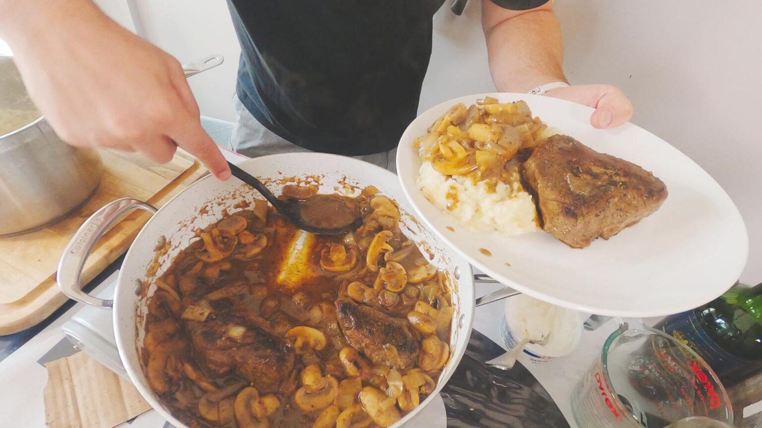Image of mashed potatoes and madeira steak