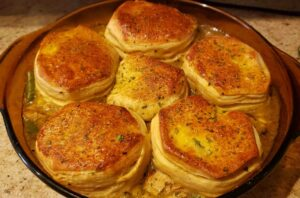 Image of homemade biscuit pot pie cooked