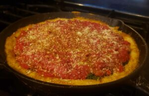 Image of homemade deep dish pizza