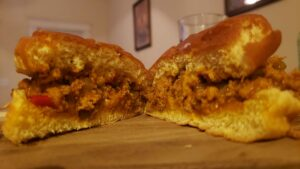 Images of homemade sloppy Joes ready to eat