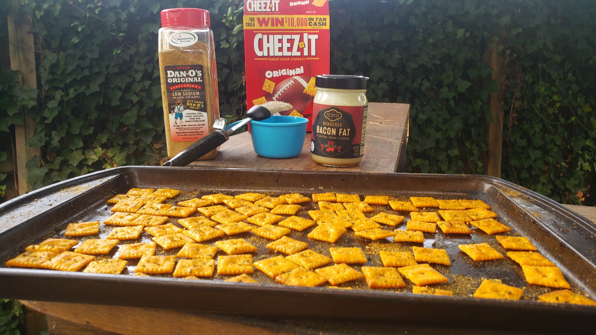 Cheez Its smoked with Dan-O's Seasoning and Bacon Fat - Image of ingredients