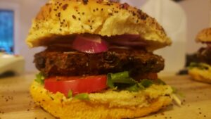 image of dressed homemade black bean burger
