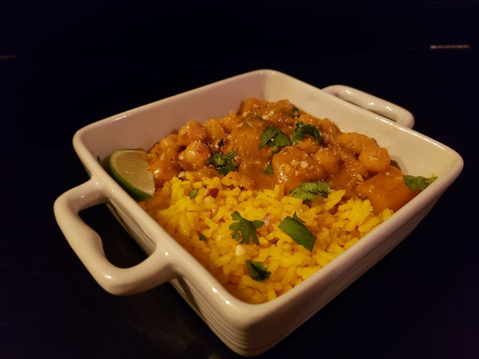 Image of butternut squash curry with rice in a bowl
