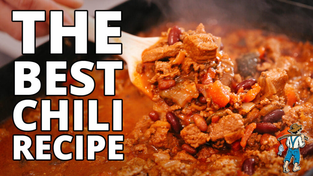 The best chili recipe - image of chili in a serving spoon