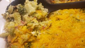 Image of broccoli cheese casserole ready to eat