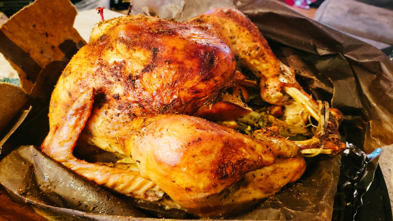 southern style brown paper bag turkey