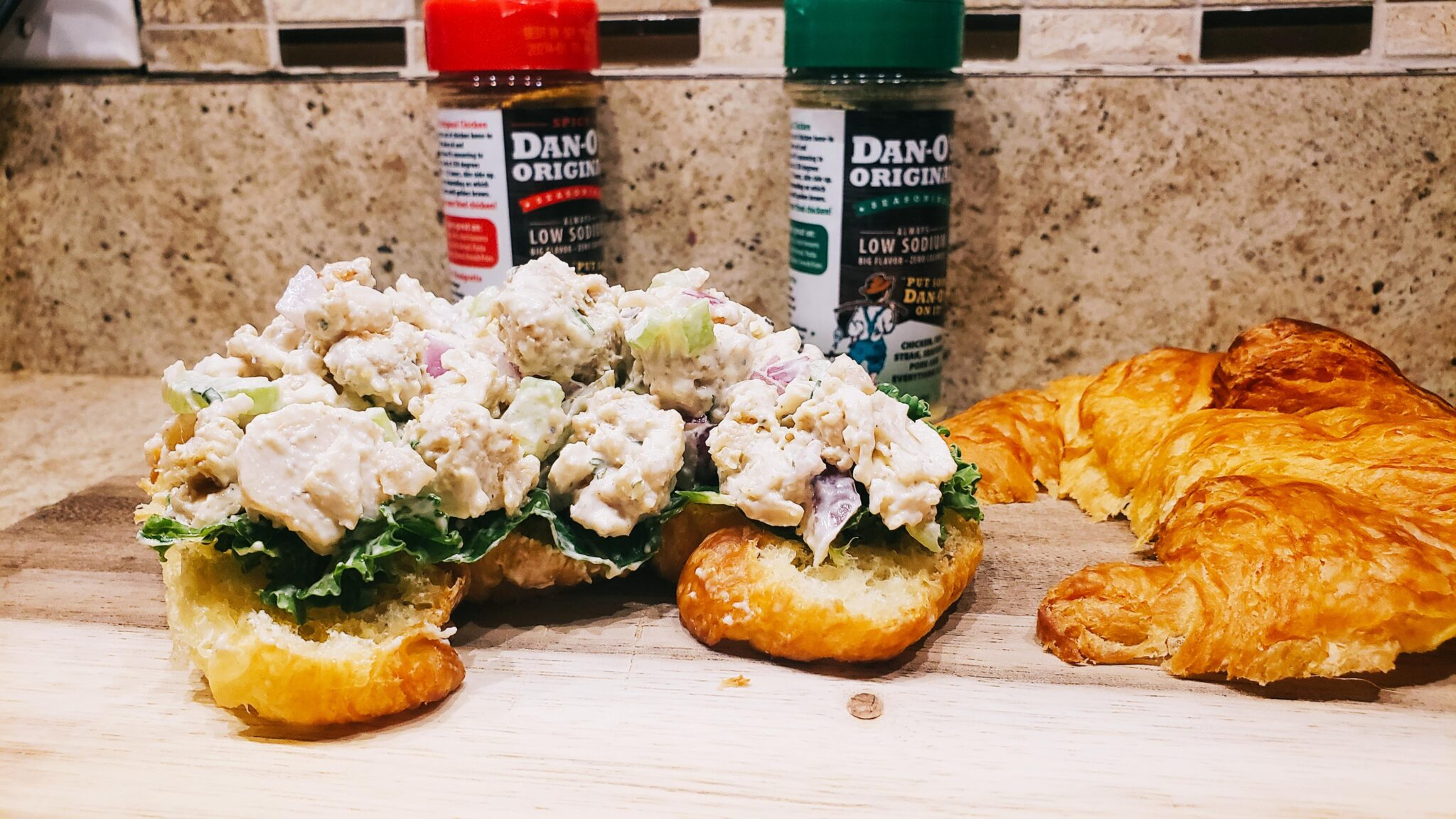 Image of fried chicken salad on a croissant