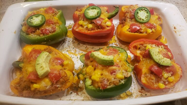 Image of turkey rice stuffed peppers in a pan