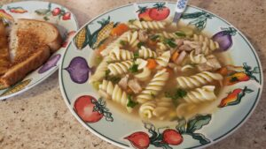 Image of homemade turkey noodle soup with toast