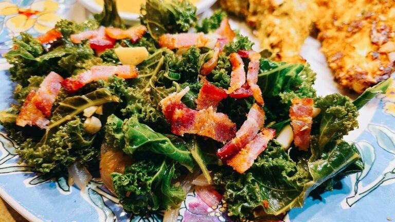 Bacon Garlic Sauteed Kale on a plate