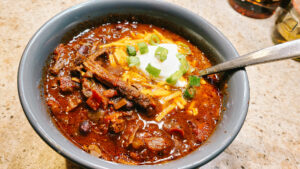 Chocolate Coffee Short Rib Chili in a bowl