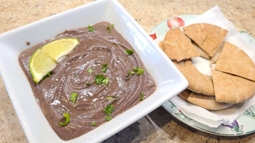 Black Bean Hummus on a plate