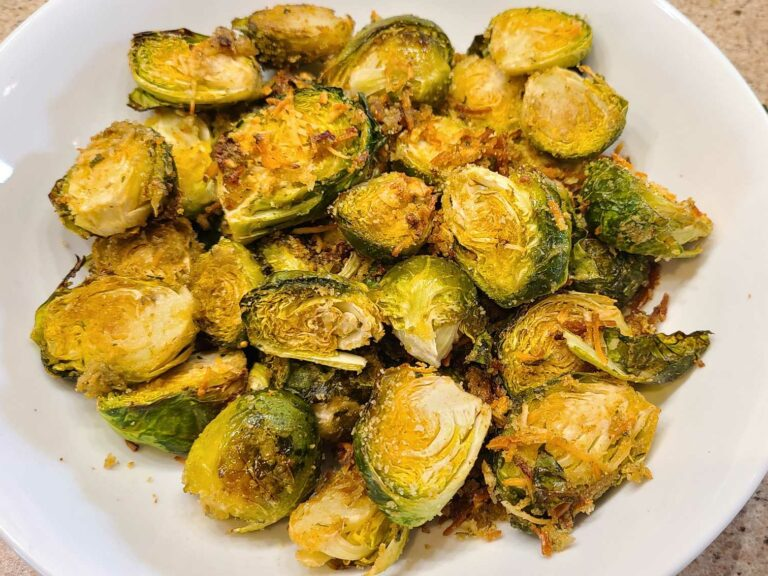 Garlic Parmesan Brussels Sprouts in a bowl