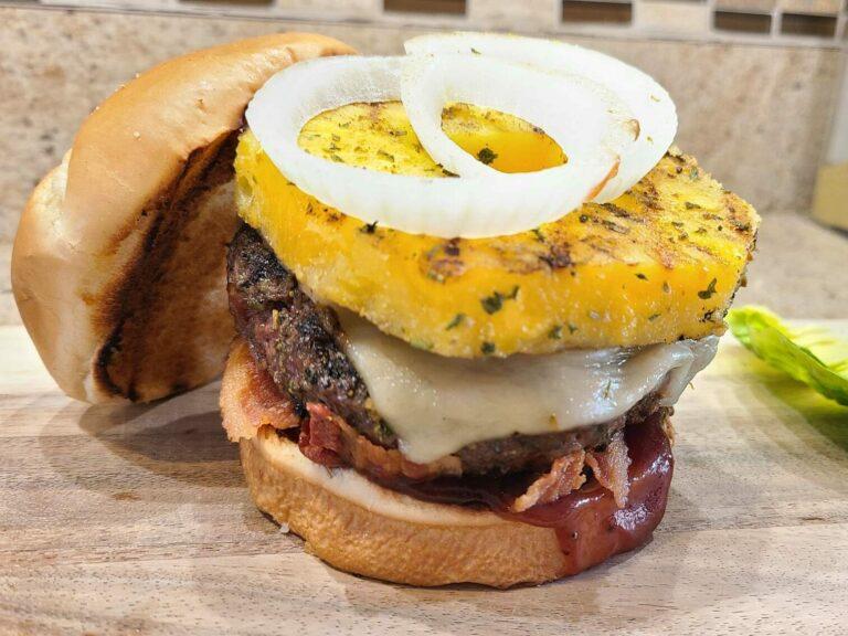 Picture of Hawaiian burger on cutting board