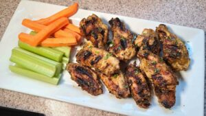Grilled Honey Mustard Wings and celery
