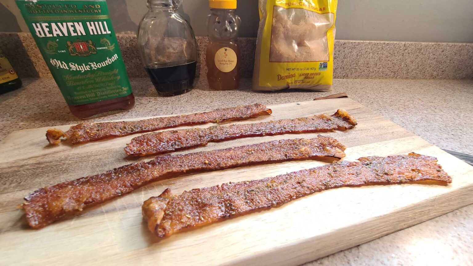 Maple bourbon candied bacon