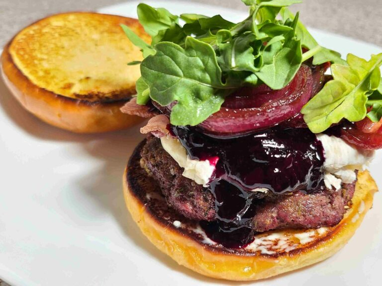 Blueberry bree Compote Burger on a plate